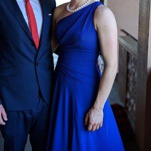 Cobalt one shoulder dress